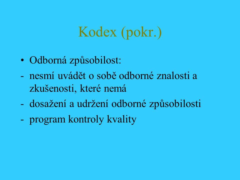 Kodex (pokr.) Odborná způsobilost: