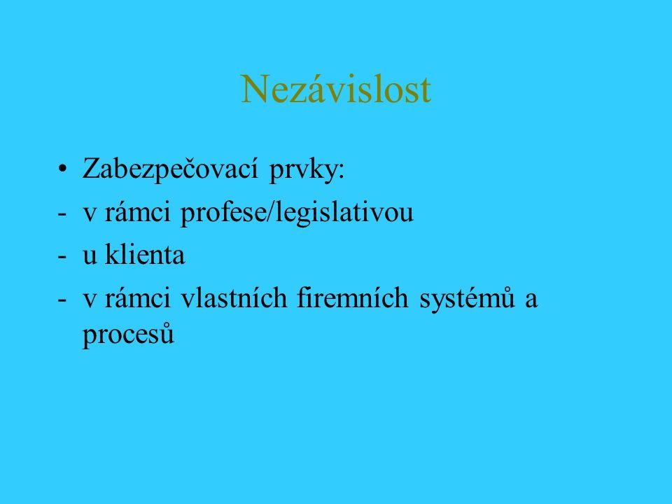Nezávislost Zabezpečovací prvky: v rámci profese/legislativou
