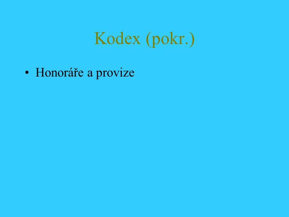 Kodex (pokr.) Honoráře a provize