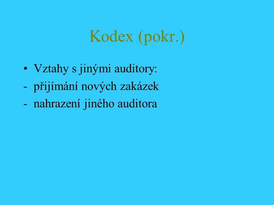 Kodex (pokr.) Vztahy s jinými auditory: přijímání nových zakázek