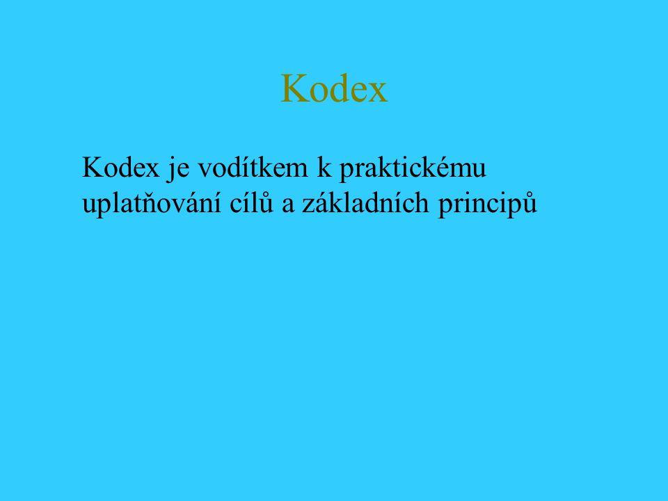 Kodex Kodex je vodítkem k praktickému uplatňování cílů a základních principů