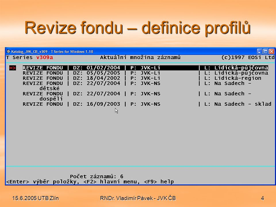 Revize fondu – definice profilů