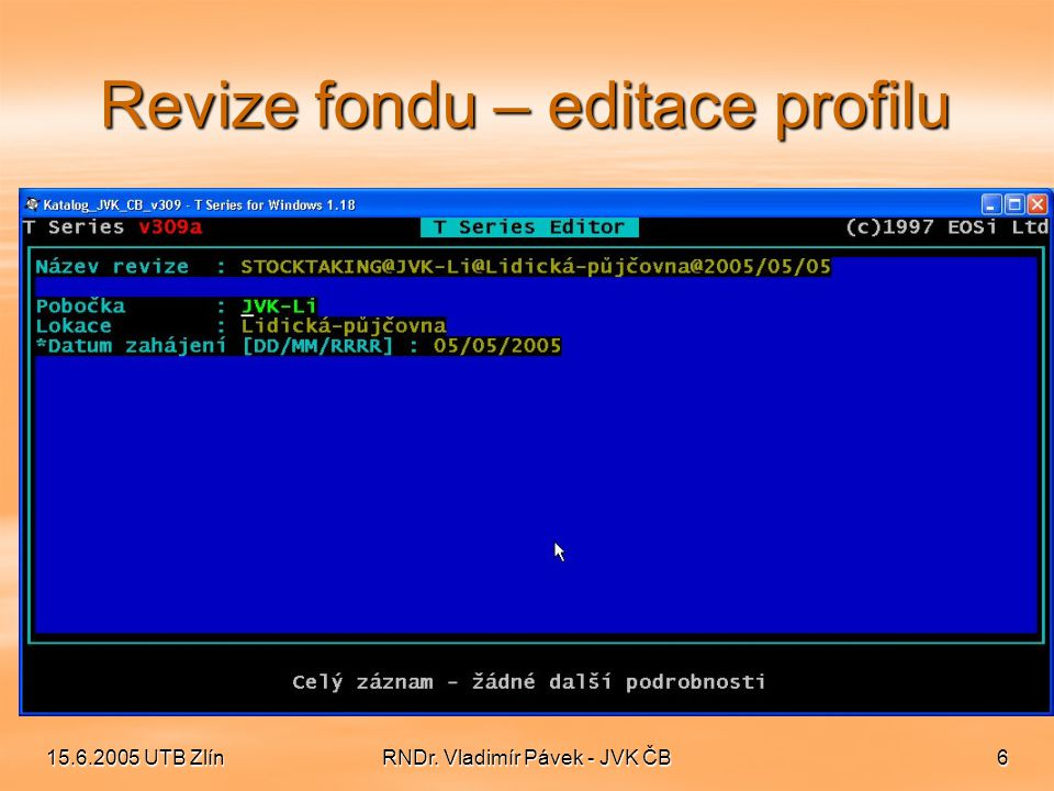 Revize fondu – editace profilu