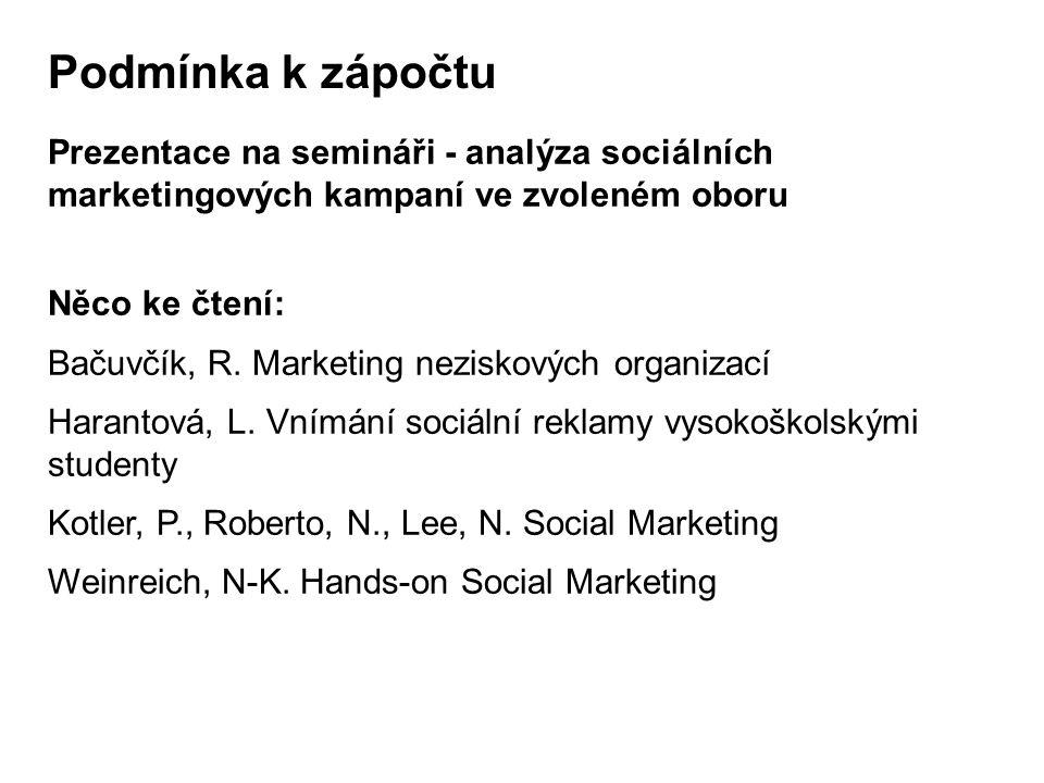 Podmínka k zápočtu Prezentace na semináři - analýza sociálních marketingových kampaní ve zvoleném oboru.