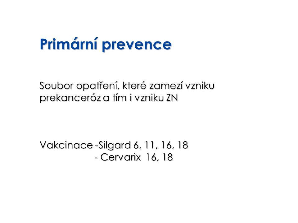 Primární prevence Soubor opatření, které zamezí vzniku prekanceróz a tím i vzniku ZN. Vakcinace -Silgard 6, 11, 16, 18.
