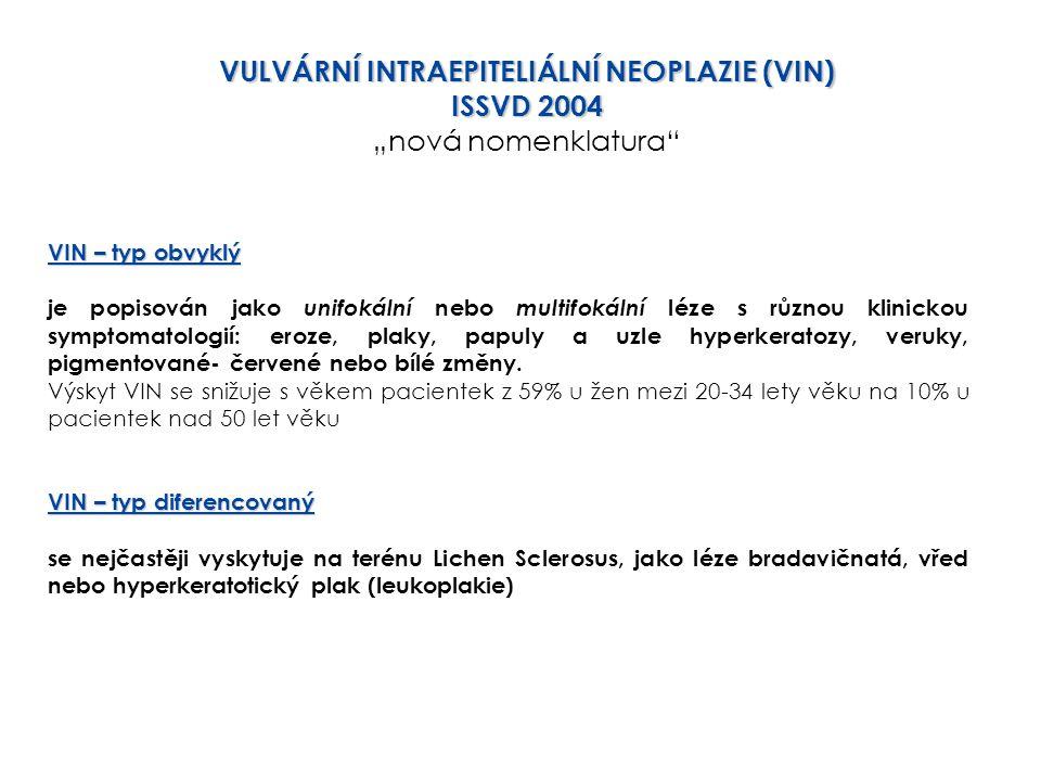 """VULVÁRNÍ INTRAEPITELIÁLNÍ NEOPLAZIE (VIN) ISSVD 2004 """"nová nomenklatura"""