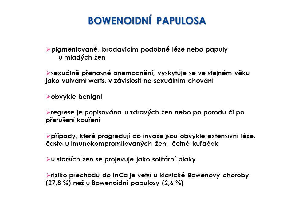 BOWENOIDNÍ PAPULOSA pigmentované, bradavicím podobné léze nebo papuly
