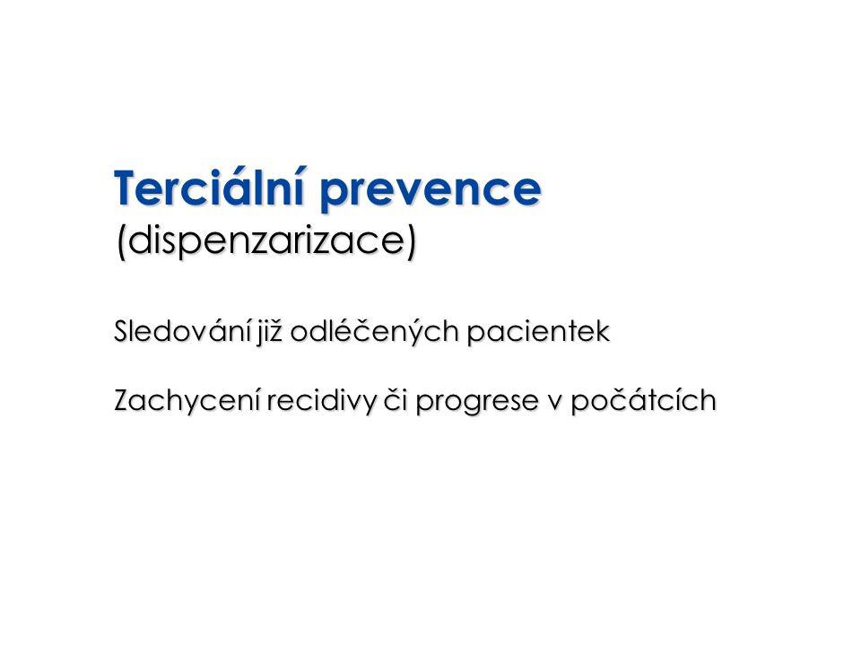 Terciální prevence (dispenzarizace) Sledování již odléčených pacientek