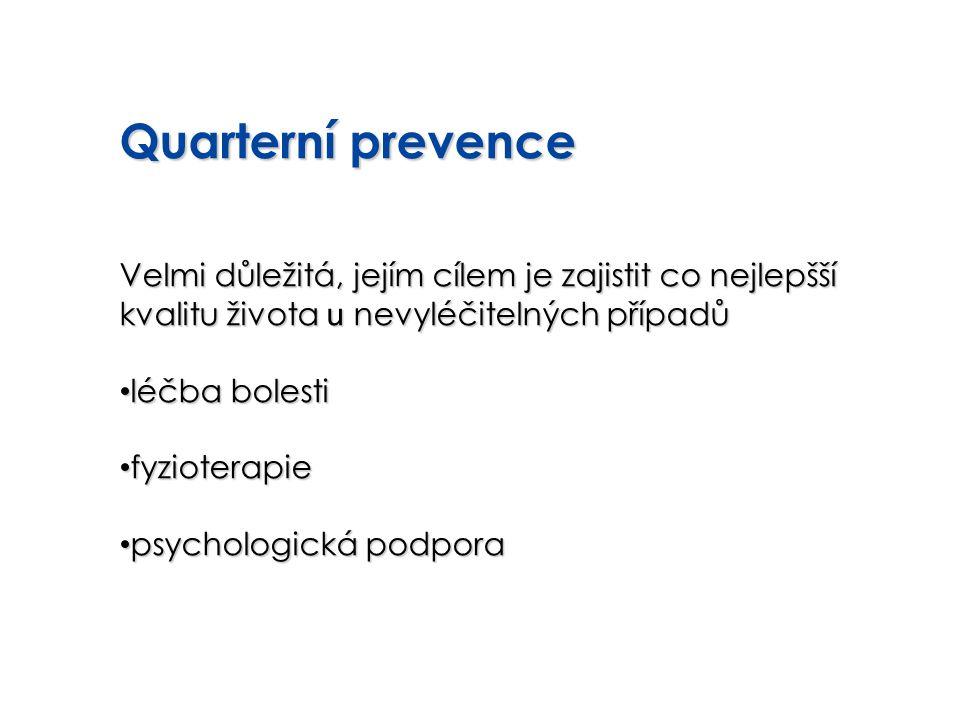Quarterní prevence Velmi důležitá, jejím cílem je zajistit co nejlepšší kvalitu života u nevyléčitelných případů.