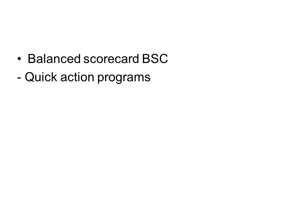Balanced scorecard BSC