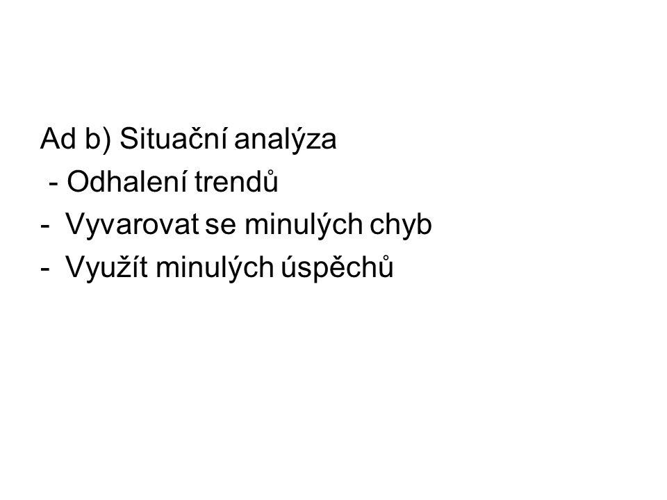 Ad b) Situační analýza - Odhalení trendů Vyvarovat se minulých chyb Využít minulých úspěchů