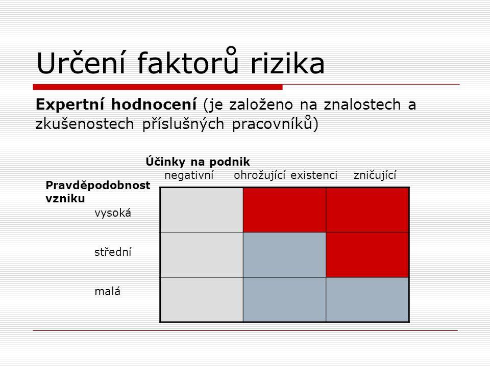 Určení faktorů rizika Expertní hodnocení (je založeno na znalostech a