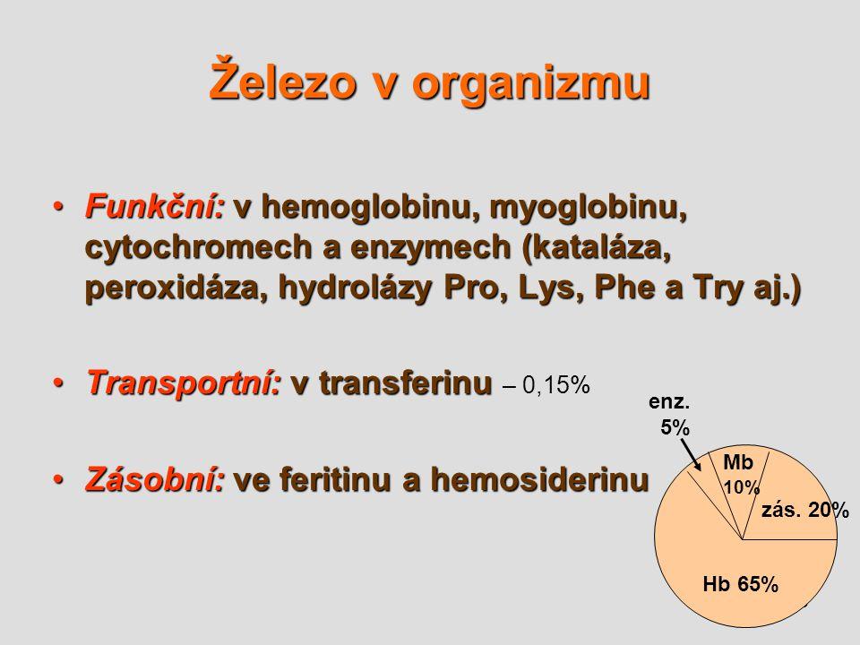 Železo v organizmu Funkční: v hemoglobinu, myoglobinu, cytochromech a enzymech (kataláza, peroxidáza, hydrolázy Pro, Lys, Phe a Try aj.)