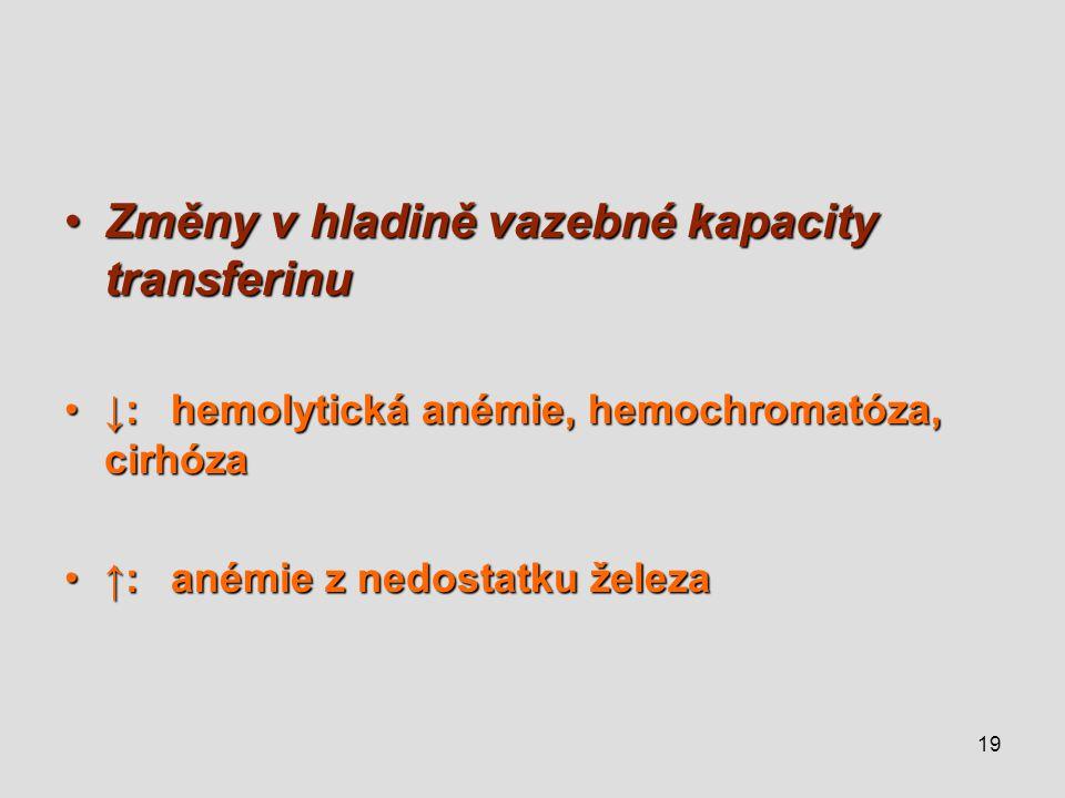 Změny v hladině vazebné kapacity transferinu