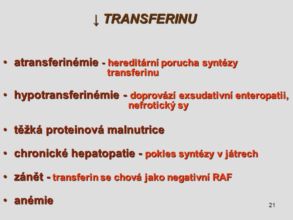 ↓ TRANSFERINU atransferinémie - hereditární porucha syntézy transferinu.
