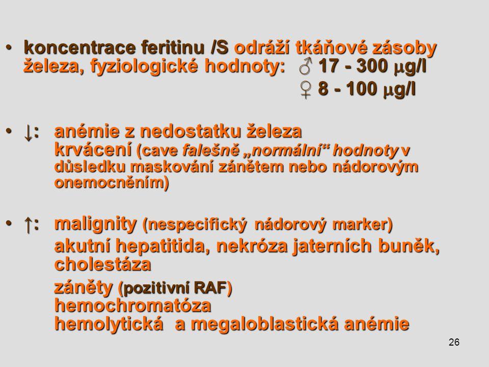 ↑: malignity (nespecifický nádorový marker)