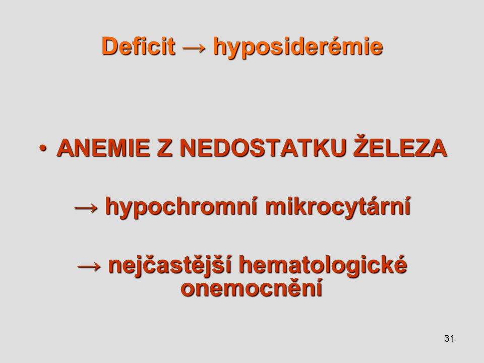 Deficit → hyposiderémie