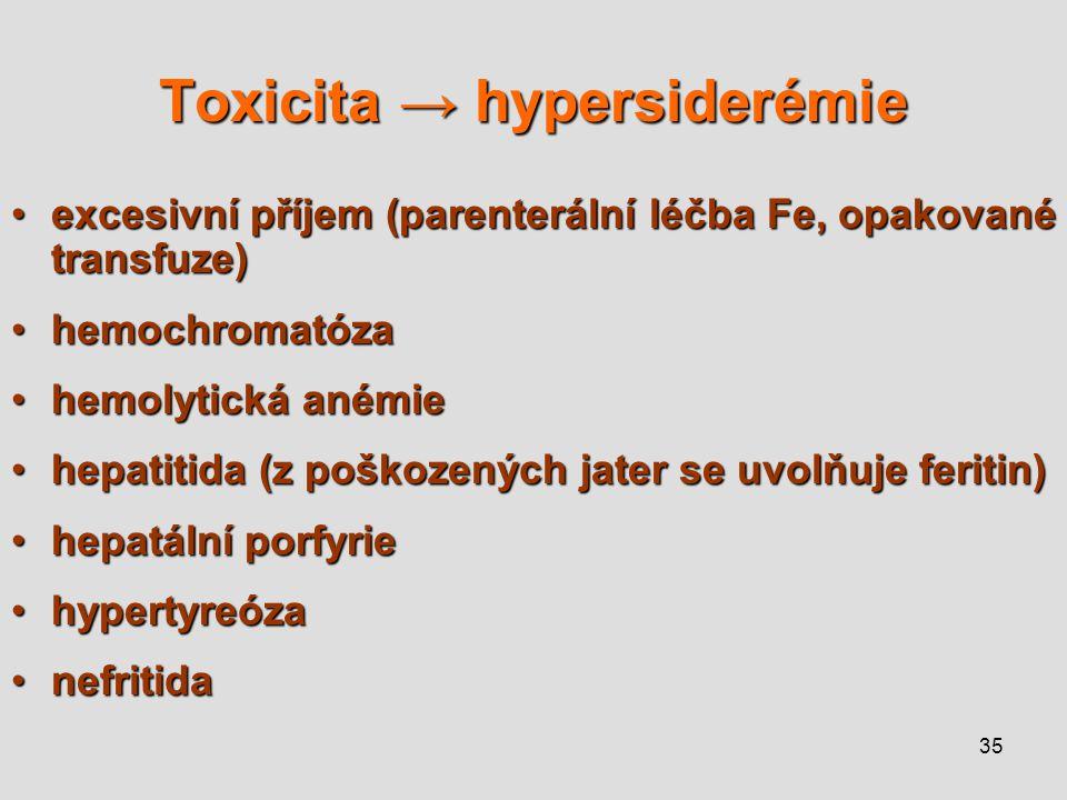 Toxicita → hypersiderémie