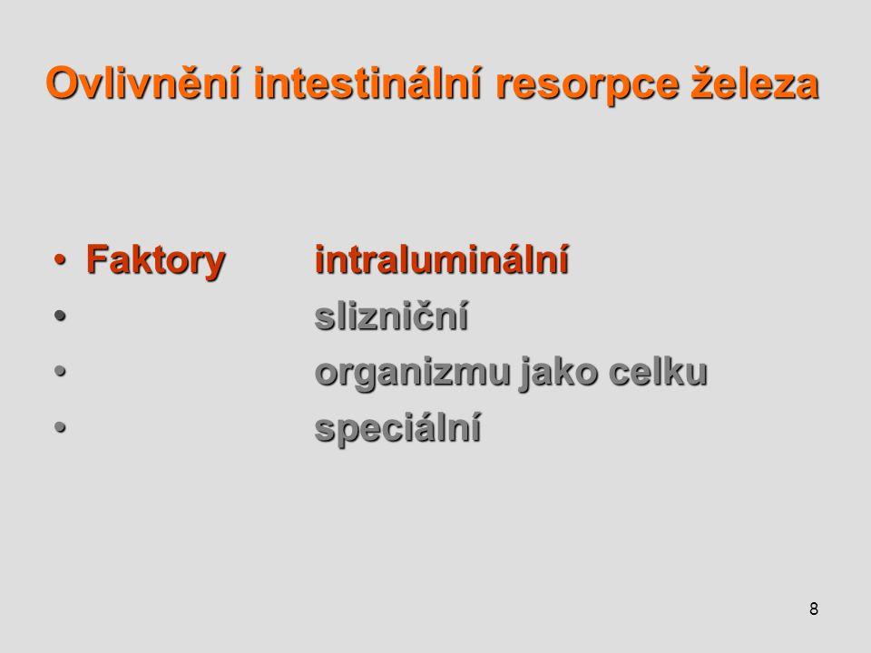 Ovlivnění intestinální resorpce železa