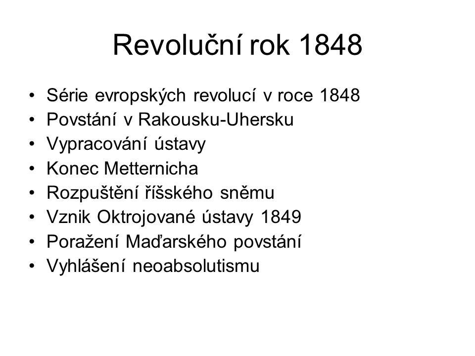Revoluční rok 1848 Série evropských revolucí v roce 1848