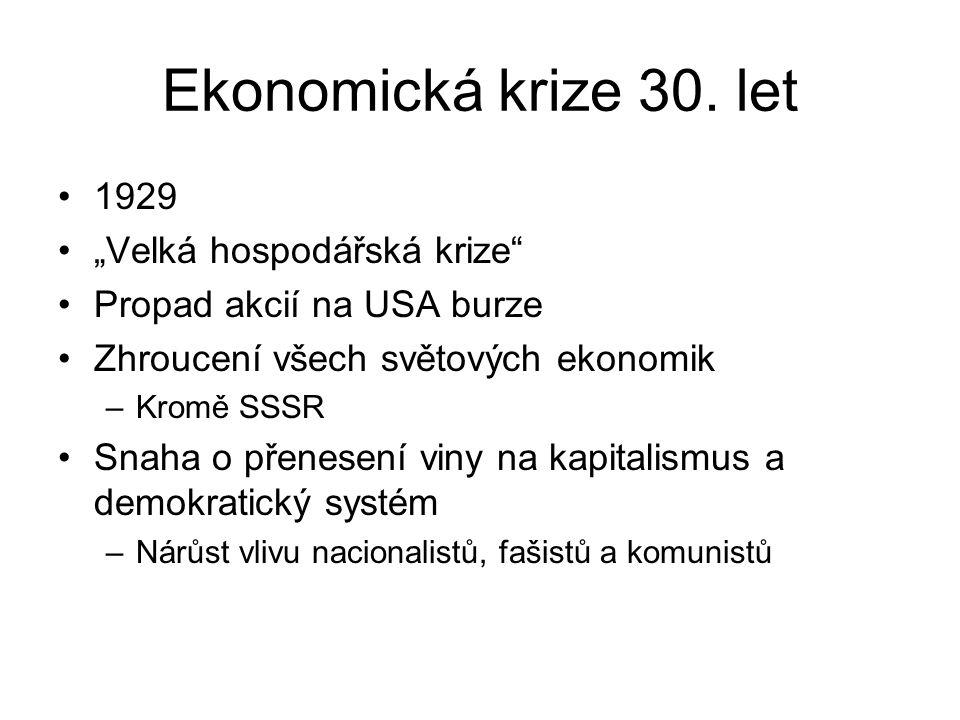"""Ekonomická krize 30. let 1929 """"Velká hospodářská krize"""