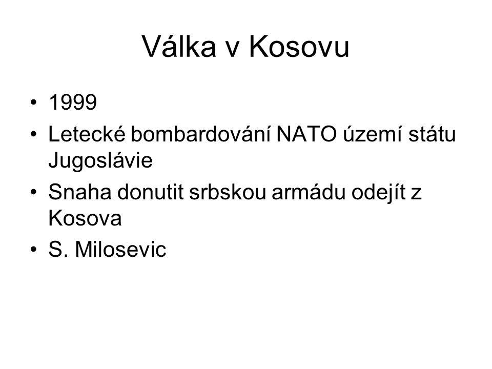 Válka v Kosovu 1999 Letecké bombardování NATO území státu Jugoslávie