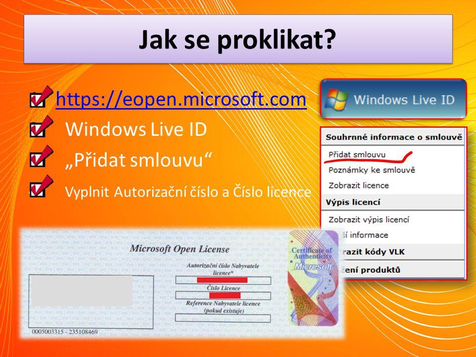 Jak se proklikat https://eopen.microsoft.com Windows Live ID