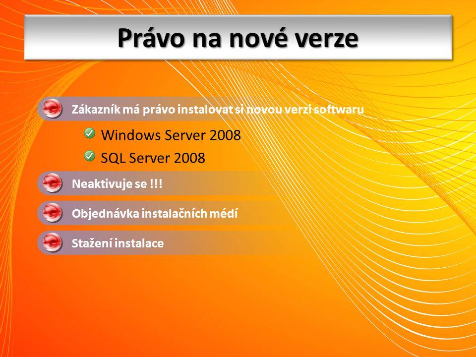 Právo na nové verze Windows Server 2008 SQL Server 2008