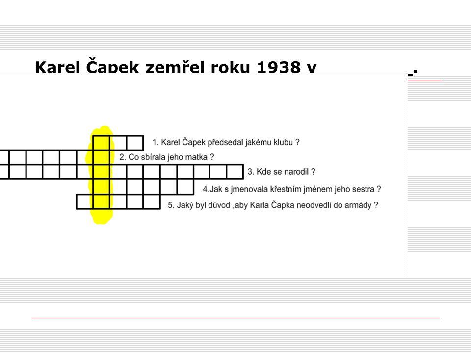 Karel Čapek zemřel roku 1938 v ________.