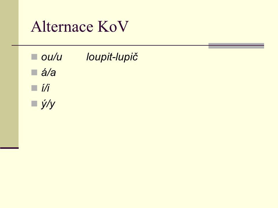 Alternace KoV ou/u loupit-lupič á/a í/i ý/y