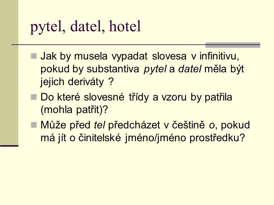pytel, datel, hotel Jak by musela vypadat slovesa v infinitivu, pokud by substantiva pytel a datel měla být jejich deriváty