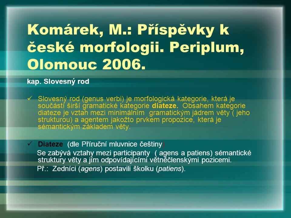 Komárek, M.: Příspěvky k české morfologii. Periplum, Olomouc 2006.