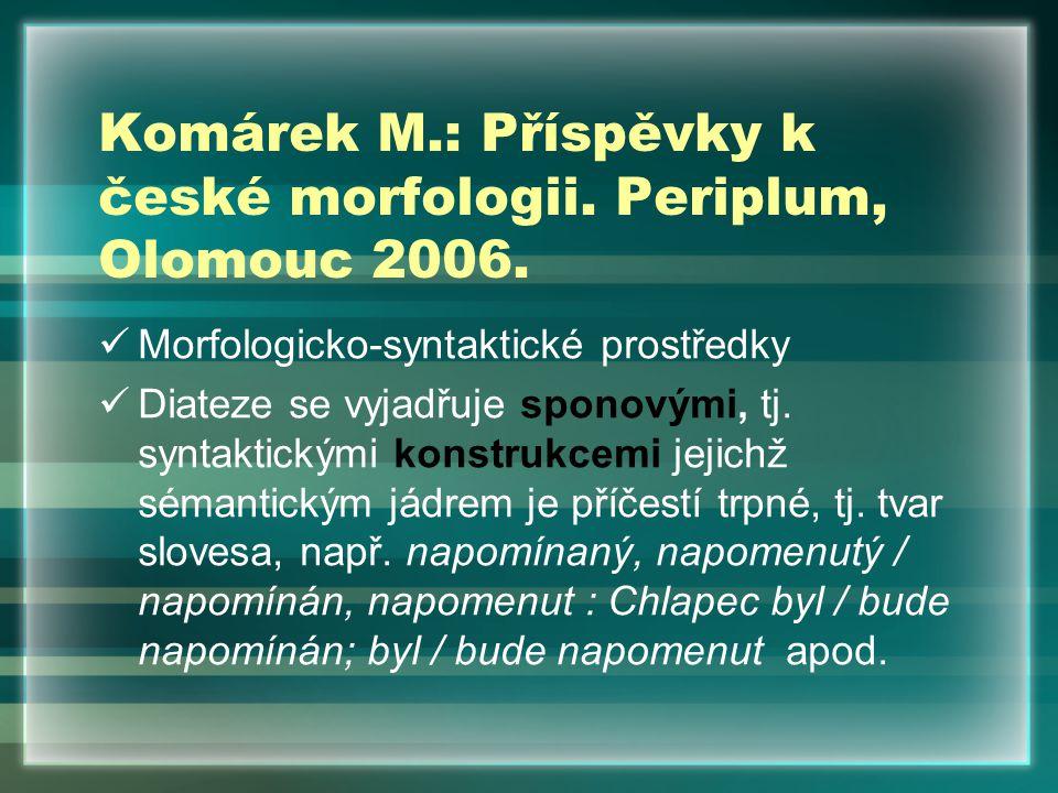 Komárek M.: Příspěvky k české morfologii. Periplum, Olomouc 2006.