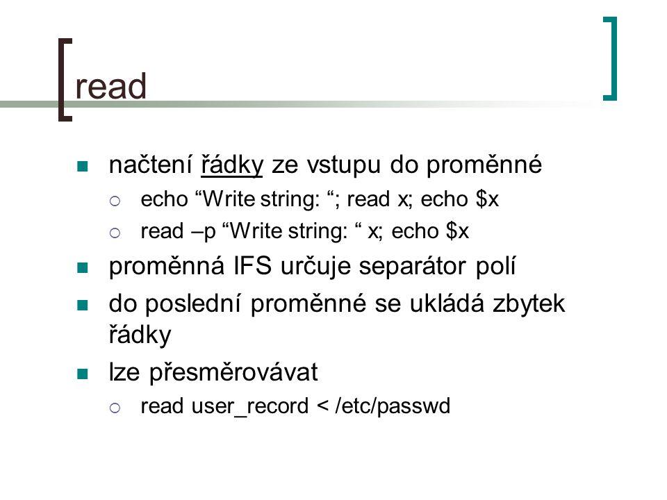 read načtení řádky ze vstupu do proměnné