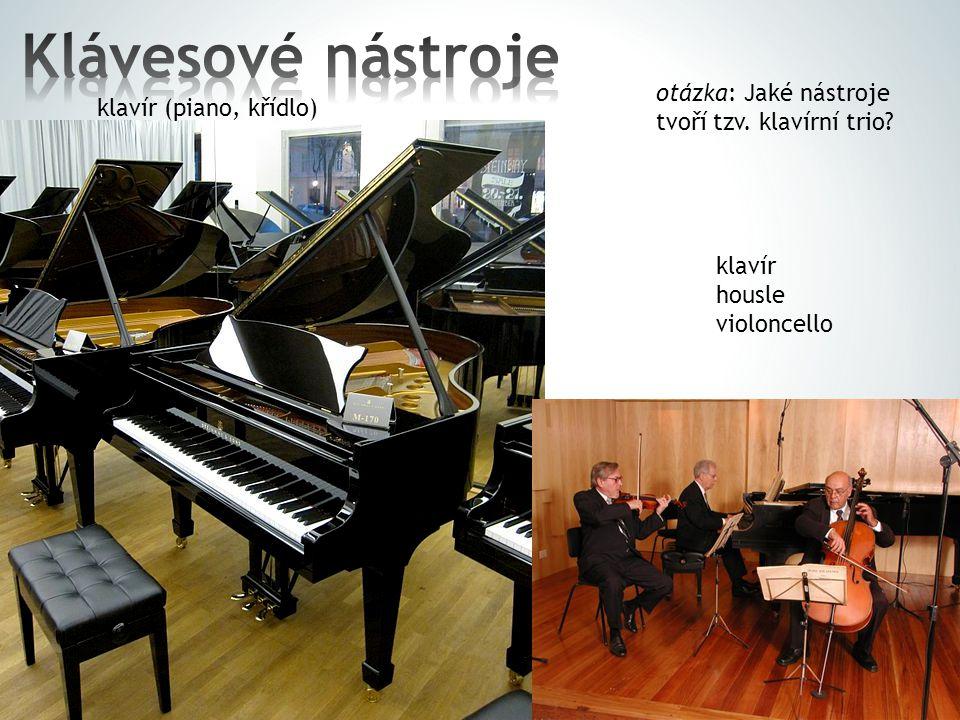 Klávesové nástroje otázka: Jaké nástroje tvoří tzv. klavírní trio
