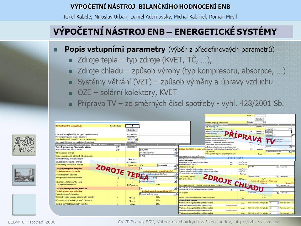 VÝPOČETNÍ NÁSTROJ ENB – ENERGETICKÉ SYSTÉMY