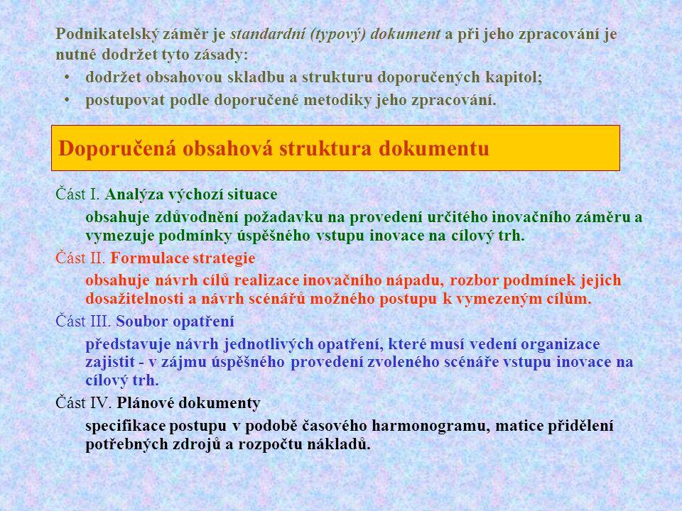 Doporučená obsahová struktura dokumentu