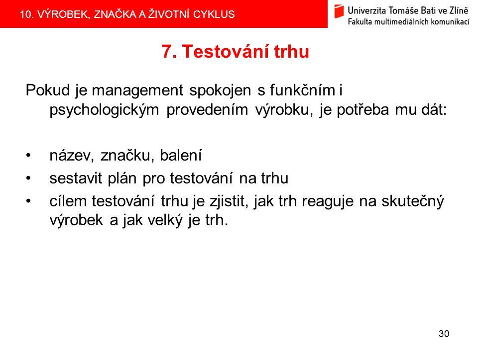 7. Testování trhu Pokud je management spokojen s funkčním i psychologickým provedením výrobku, je potřeba mu dát: