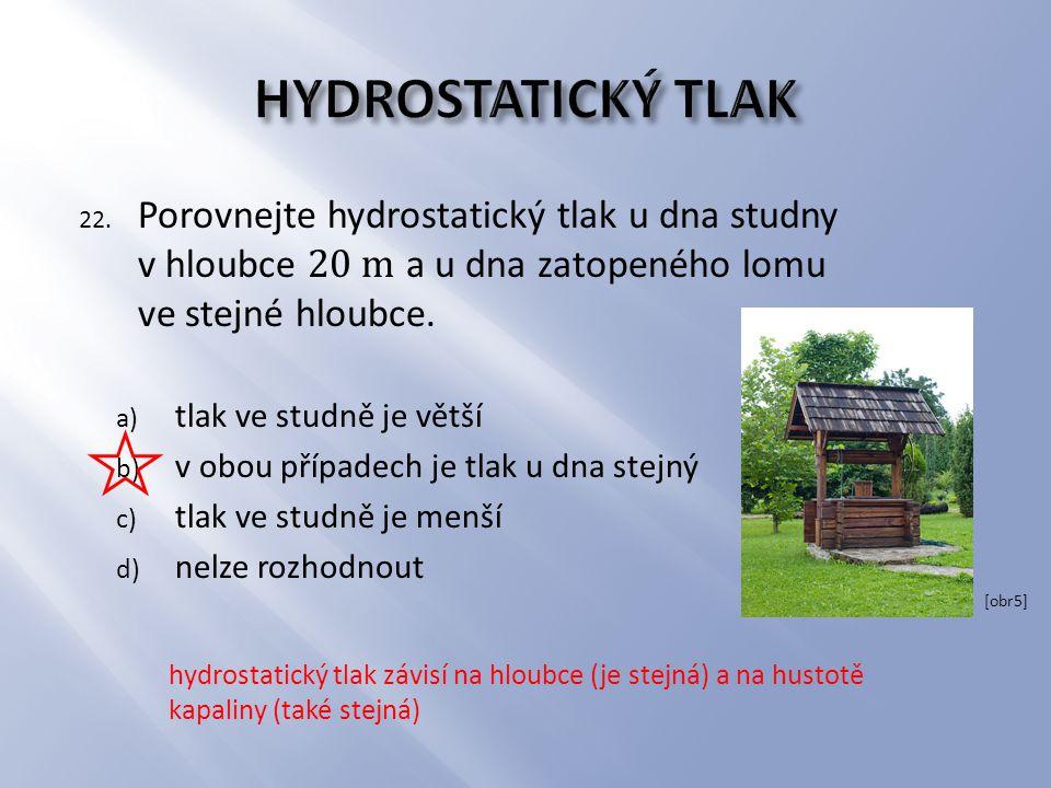 HYDROSTATICKÝ TLAK Porovnejte hydrostatický tlak u dna studny v hloubce 20 m a u dna zatopeného lomu ve stejné hloubce.
