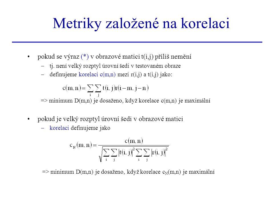 Metriky založené na korelaci