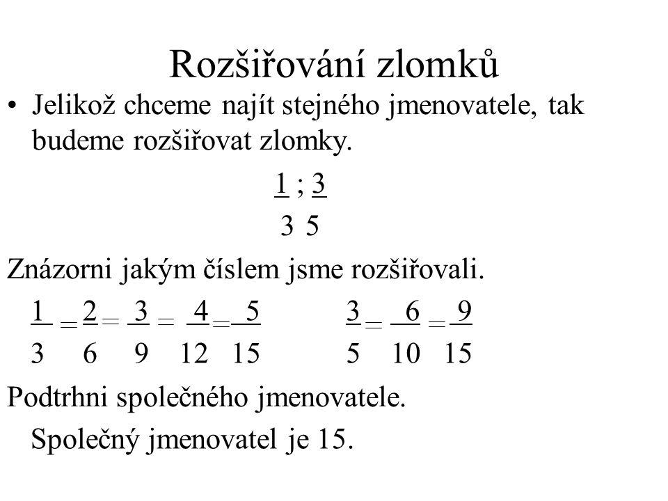 Rozšiřování zlomků Jelikož chceme najít stejného jmenovatele, tak budeme rozšiřovat zlomky. 1 ; 3.