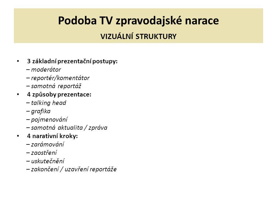 Podoba TV zpravodajské narace VIZUÁLNÍ STRUKTURY