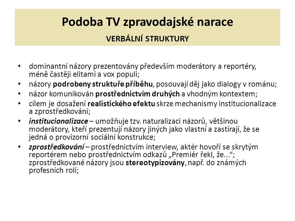 Podoba TV zpravodajské narace VERBÁLNÍ STRUKTURY