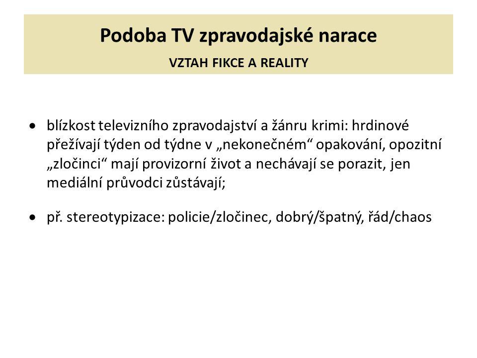Podoba TV zpravodajské narace VZTAH FIKCE A REALITY