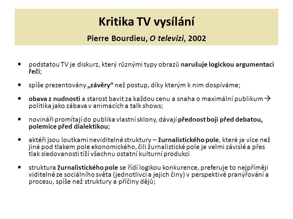 Kritika TV vysílání Pierre Bourdieu, O televizi, 2002
