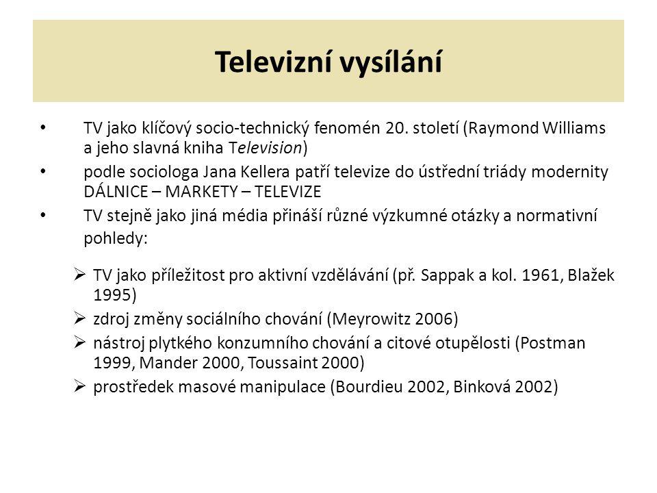 Televizní vysílání TV jako klíčový socio-technický fenomén 20. století (Raymond Williams a jeho slavná kniha Television)