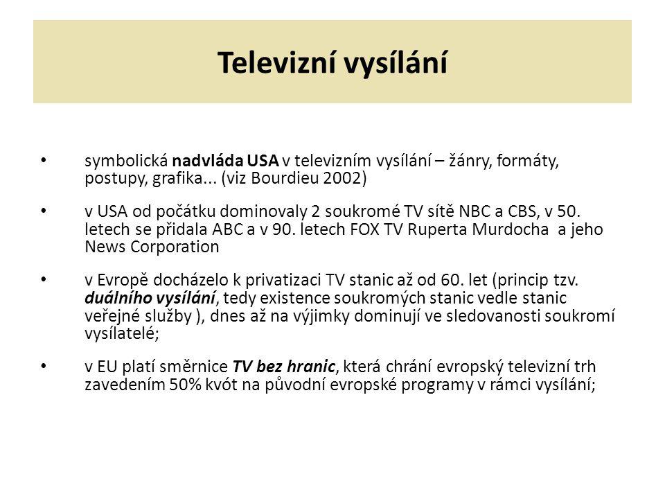 Televizní vysílání symbolická nadvláda USA v televizním vysílání – žánry, formáty, postupy, grafika... (viz Bourdieu 2002)