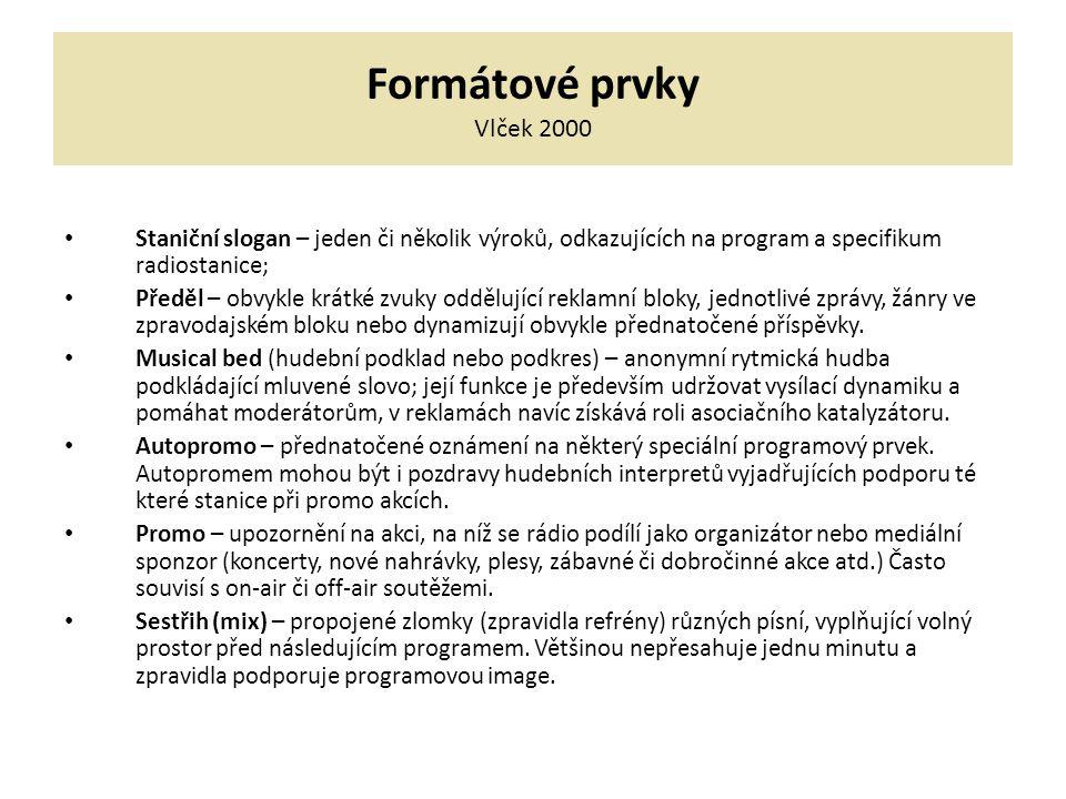 Formátové prvky Vlček 2000 Staniční slogan – jeden či několik výroků, odkazujících na program a specifikum radiostanice;