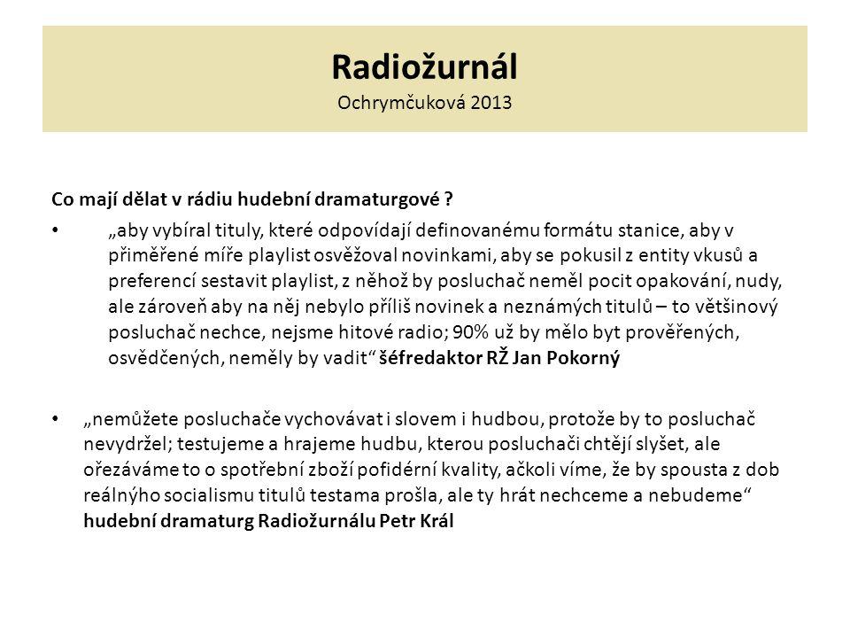 Radiožurnál Ochrymčuková 2013