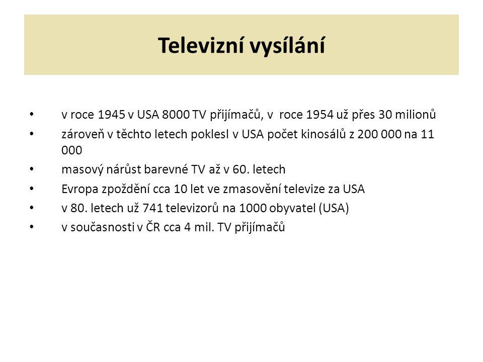 Televizní vysílání v roce 1945 v USA 8000 TV přijímačů, v roce 1954 už přes 30 milionů.